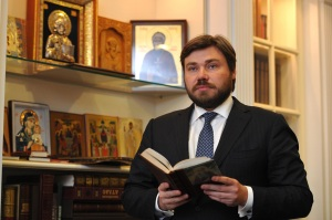 *** TERMINAL ATTACHMENTS ONLY *** Konstantin Malofeev, Russian financier, poses for a photograph in this handout photo taken Thursday, June 12, and released to the media on Friday, June 13, 2014. In late January, Malofeev travelled to Crimea to supervise an exhibition of religious relics and met Sergei Aksyonov, a pro-Russian leader who a month later directed an armed seizure of power in the region that paved the way for Russia to incorporate it. Source: Marshall Group via Bloomberg EDITORS NOTE: WEB EXCLUDE. TERMINAL ATTACHMENTS ONLY. NOT TO BE ISSUED TO CLIENTS. EDITORIAL USE ONLY. NO SALES